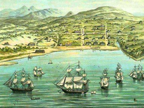 Photo : Peinture  village de Yerba Buena en 1846